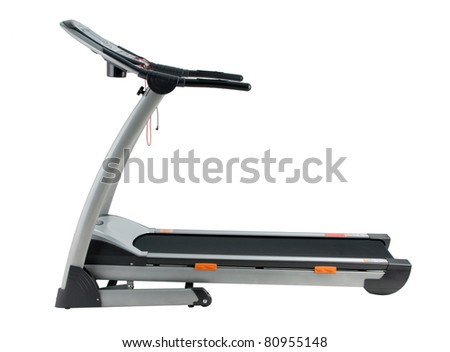Treadmill the exercise tool isolated on white background - stock photo