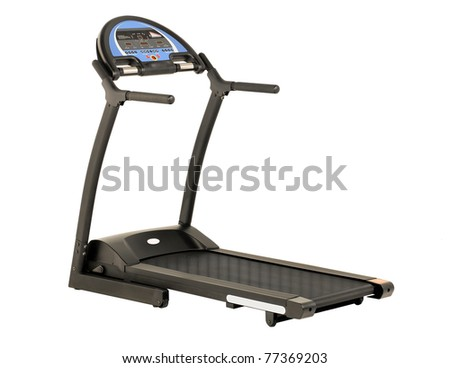 Treadmill the running exercise tool isolated on white - stock photo