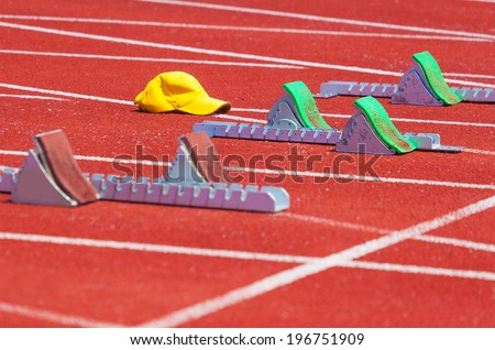 treadmill with blocks, sports background - stock photo