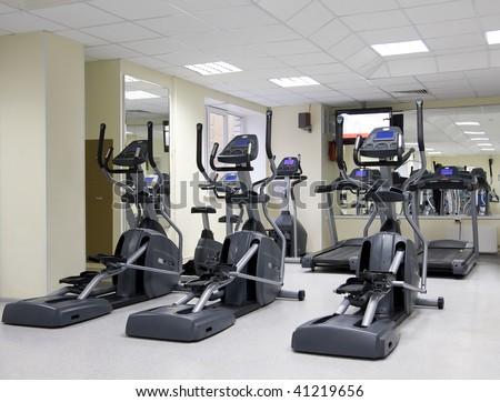 Treadmills at a small health club - stock photo