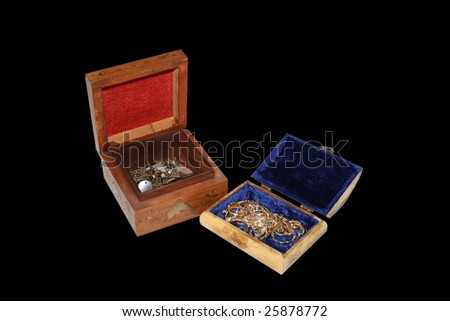 Treasure box isolated on black background with jewels