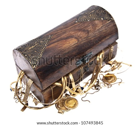 Treasure box with old jewelry isolated on white background