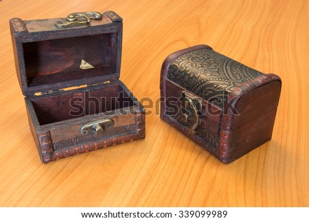 Treasure chest and have a wood floor in the background