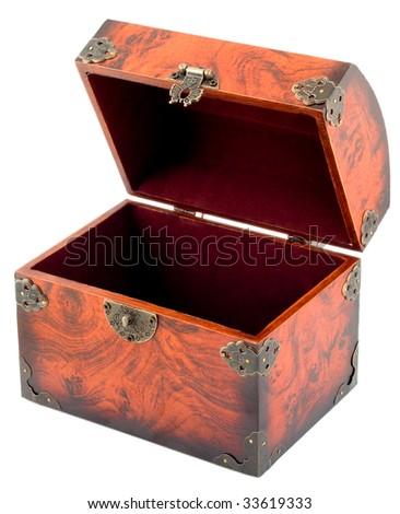 Treasure chest empty open - stock photo