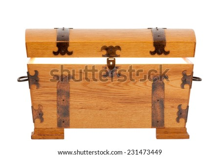 Treasure Chest front open top with glow - stock photo