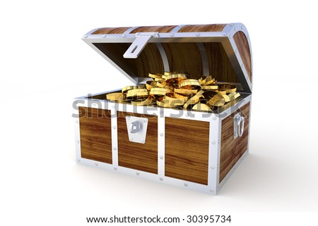 Treasure chest. Hi-res digitally generated image. - stock photo