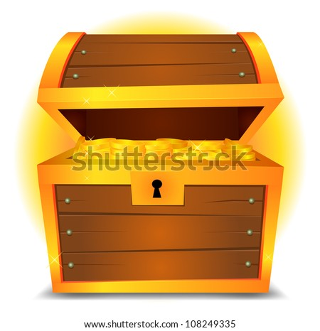 Treasure Chest/ Illustration of a cartoon treasure chest with gold ...