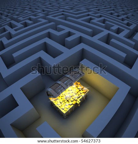 treasure chest in labyrinth - stock photo