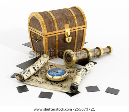 Treasure chest, map, compass and looking glass isolated on white background - stock photo