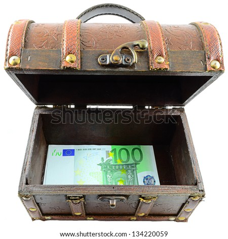 Treasure Chest With Euro Banknotes On White Background - stock photo