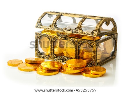 Treasure chest with golden coins isolated on white - stock photo