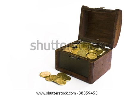 Treasure chest with money inside and in front