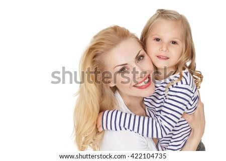 Treasure each other. Studio shot of a beautiful woman and her daughter hugging looking to the camera smiling isolated on white. - stock photo