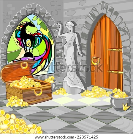 Treasure house with the statue and stained-glass window - stock photo