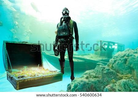 treasure hunter mask snorkel diving underwater stock photo edit now