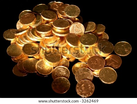 Treasure in golden light, of chocolate coins