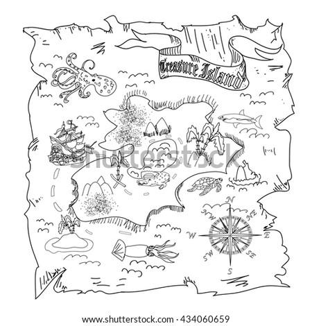 Treasure Island  map kids coloring page - stock photo