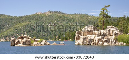 Treasure Island sits in Boulder Bay on Big Bear Lake in Southern California. - stock photo
