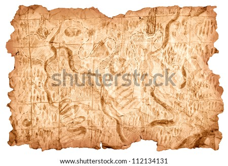 Treasure Map. Old map drawn on a piece of paper that shows the way to the treasures of pirates. Image isolated over white background. - stock photo