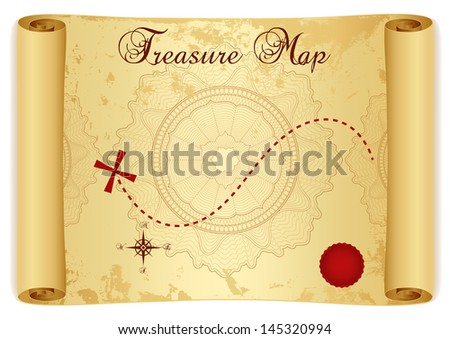 Treasure Map On Old Vintage Antique Paper Scroll Or Parchment With Cross
