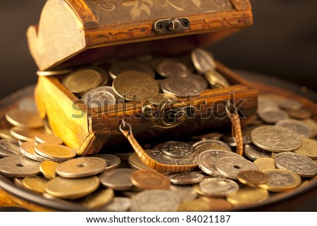 treasure of gold coins - stock photo