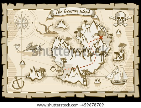 Treasure pirate hand drawn map