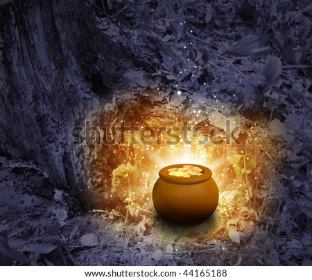 Treasure - pot, filled with gold coins - stock photo