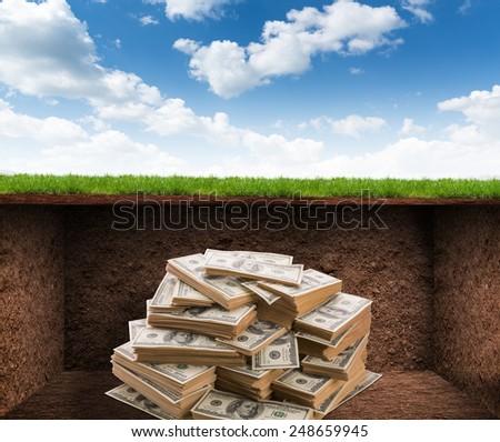 Treasure room with money - stock photo