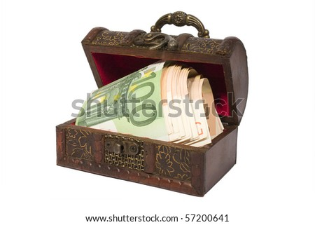 Treasure with money isolated on white background - stock photo