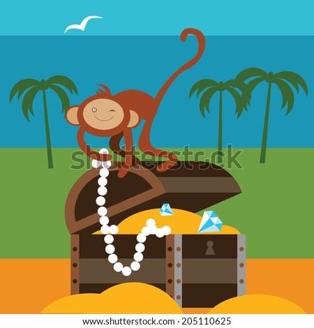 Treasures and monkey Raster version - stock photo