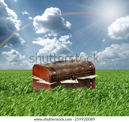 Treasures chest in green grass and blue cloudy sky, USA dollars in box - stock photo