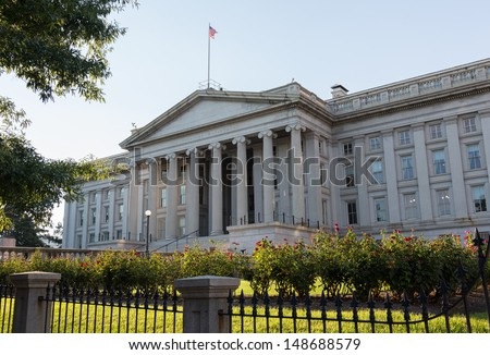 Treasury Building in Washington, D.C. is a National Historic Landmark building which is the headquarters of the United States Department of the Treasury.  - stock photo