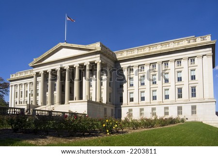 Treasury Department building - a landmark in Washington, DC - stock photo
