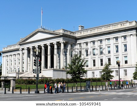 Treasury Department building in Washington, DC - stock photo