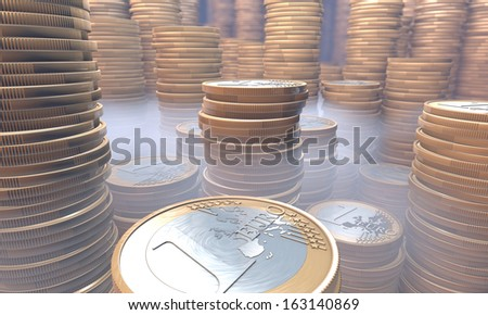 Treasury, treasure house containing stacks of euros under haze, mist, 3d rendering  - stock photo