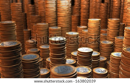 Treasury, treasure house containing stacks, piles of euros, 3d rendering - stock photo