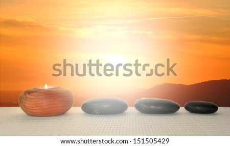treatment for natural stone massages and mineral salts - stock photo