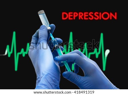 Treatment of depression. Syringe is filled with injection. Syringe and vaccine. Medical concept. - stock photo