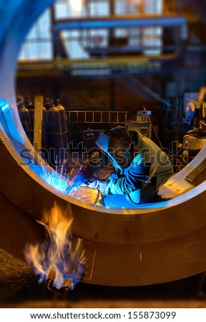 Treatment process at the plant of heavy mechanical engineering - stock photo