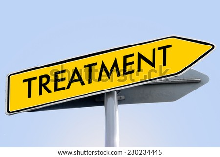 treatment word on yellow roadsign concept