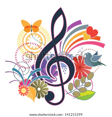 Treble clef music background - stock photo
