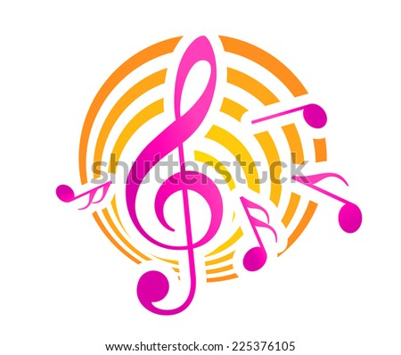 Treble clef musical themed icon, over a yellow and pink circular motif with music notes - stock photo