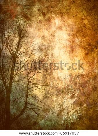 Tree, abstract grunge background - stock photo