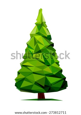 Tree abstract isolated on a white background (illustration of a many triangles) - stock photo