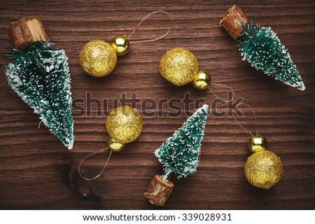 tree and balls Christmas decoration - stock photo