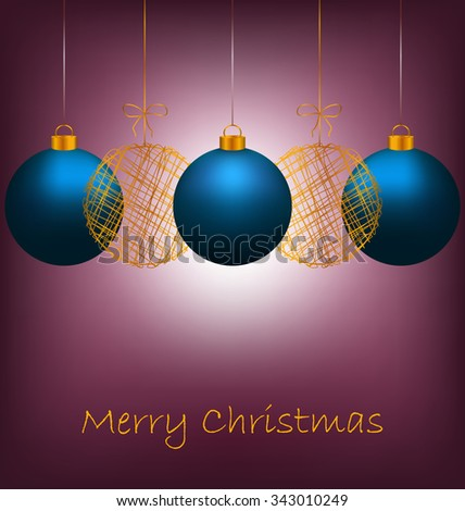 Tree blue and two golden netting Christmas balls with light on violet background