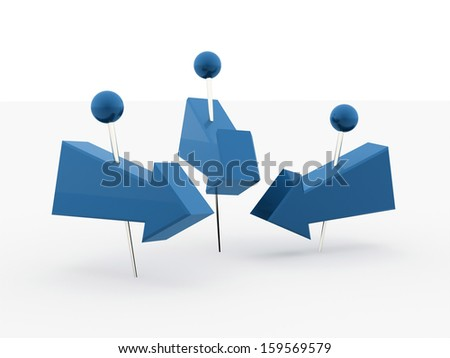 Tree blue arrows with push pin isolated on white background - stock photo