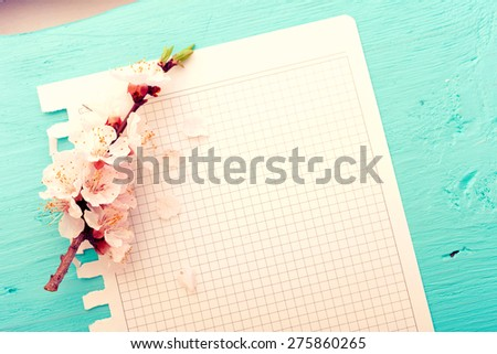 Tree branch and clean sheet paper on tiffany blue. Mock up top view. - stock photo