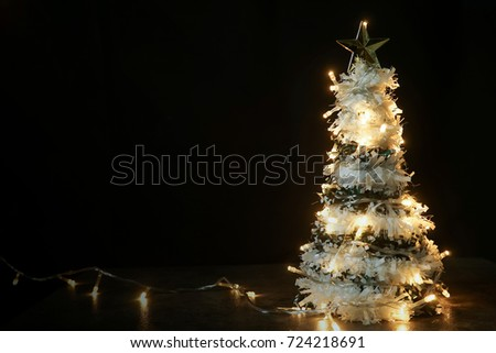 tree christmas decorations and blank space for christmas and new year background