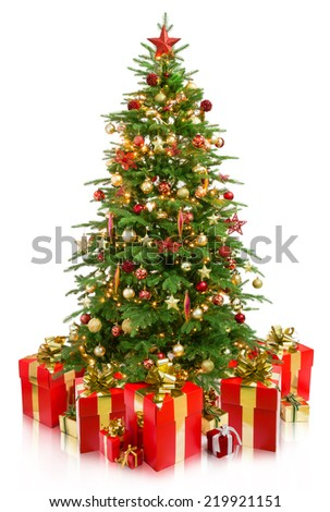 tree christmas with gifts  - stock photo
